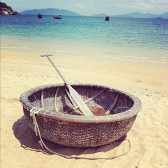 Vietnamese basket boat on the beach #photography #travel #beach
