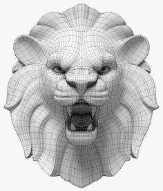 Drawing Design lion s head model 3d Model Character, Character Modeling, 3d Face Model, Zbrush, Maya Modeling, Polygon Modeling, Rhino 3d, 3d Mesh, 3d Cnc