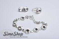 Set cu cercei și inel din cristale swarovski cu tije din argint 925 și brățară! #bijuterii #swarovski #argint #simoshop Swarovski, Pandora Charms, Charmed, Bracelets, Silver, Jewelry, Jewlery, Jewerly, Schmuck