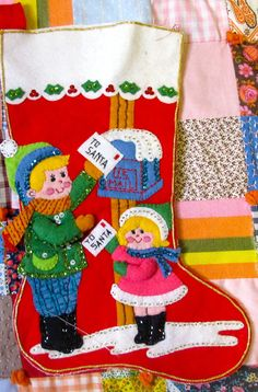 Vintage Felt Stocking by lishyloo on Etsy, $15.00  I have this stocking from when I was a baby.  My aunt made it for me.  Still hang it every year!