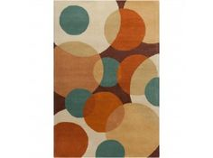 Add a fresh look to your home decor with this Allie rug. Hand-tufted in India using fine quality wool and features geometric circles design in shades of orange, rust, blue, tan, beige and light brown