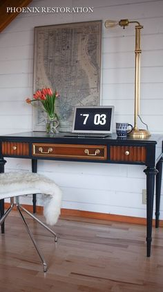 Pretty color combination -- lane traditional desk makeover, painted furniture
