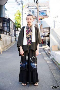 retro button up under a vintage kimono--Harajuku Guy in Kimono