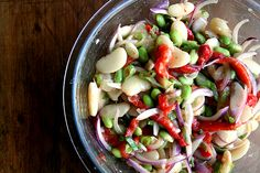 This is a nice summery side dish: lima bean and roasted red pepper salad