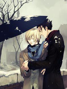 I SHIP IT!!!!  In Snow by Dark134 on DeviantArt  Kurogane x Fay D. Flourite, from Tsubasa Reservoir Chronicle (CLAMP).