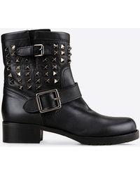 Valentino | Rockstud So Noir Biker Boots | Lyst
