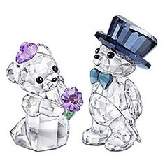 Swarovski crystal Kris bears, $165.00. More Swarovski crystal animal figurines + charms. Lovely romantic gifts!