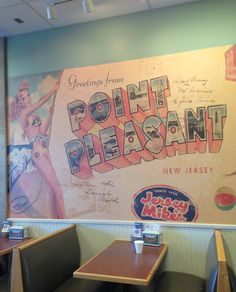 Jersey Mikes Subs: I think this photo displays a form of pathos. The artwork is located in the center of the wall, and is by far the largest artwork displayed. Point Pleasant, New Jersey is where Jersey Mikes was originally founded and is located in every 600 Jersey Mike's around the United States.