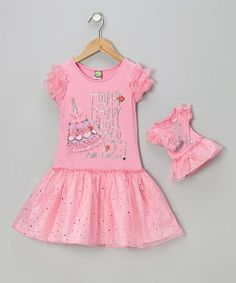 Take a look at this Pink Sparkly Birthday Dress & Doll Outfit - Girls by Dollie & Me on #zulily today!