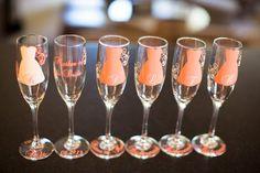I wish I found these for my wedding! Bridesmaid Glasses, Wedding Glasses, Wedding Favors, Wedding Events, Wedding Ideas, Handmade Wedding Gifts, Personalized Wedding, Personalized Gifts, Champagne Party