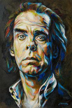 JK14-1216 Nick (Painting),  50x75 cm by Jonas Kunickas Portrait of Nick Cave - one of my favourite musician.