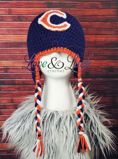 Chicago Bears Inspired Crochet Hat with Ear