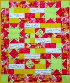 Comfort of Psalms Bible verses Quilt with flowers, floral, pink and yellow.  Quilt Fabric Kit available. Block Party Studios | Nevada, IA | Quilt Shop