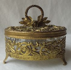 Vintage Globe Ormolu Gold Metal Filigree and Glass Footed Powder Box | eBay