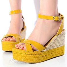 Yellow Contrast Color Wedge Sandals