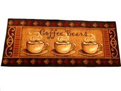 Coffee Beans Kitchen Rug Runner Cups 29 95