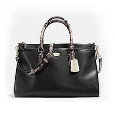 Coach Womens Morgan Satchel Bag Exotic Trim Leather Black Handbag F35887-BKWH