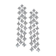 """Waterfall"" Collection Diamond-Aligned Asscher-Cut Diamond Drop Earrings by Sasha Primak - AE213A #Precious_Posts @PreciousPosts"