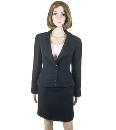 Chanel Skirt Suit 100% guaranteed authentic best | Chanel Black Tweed Skirt Suit 02A