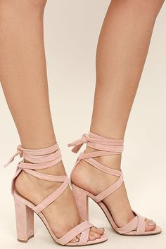 Women Shoes A - Women Shoes A Posh and spicy all in one, the Steve Madden Christey Light Pink Suede Leather Lace-Up Heels are our dream-come-true! Suede leather crisscrossing toe straps sit below long straps that wrap and tie above the ankle. Cute Shoes, Women's Shoes, Shoe Boots, Fall Shoes, Louboutin Shoes, Shoes Sneakers, Ankle Shoes, Pretty Shoes, Spring Shoes