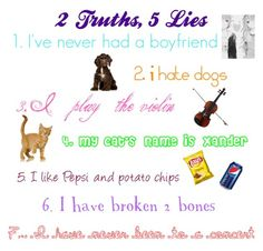 """""""2 Truths, 5 Lies Tag"""" by omgsokawaii ❤ liked on Polyvore featuring art"""