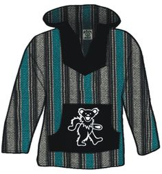 Officially licensed Grateful Dead Baja Hoody! This earth friendly pullover has a Steal Your Face printed on the front pockets. Made from recycled fabrics this hoody is earth friendly and wallet friend