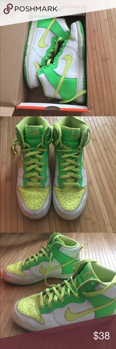 Nike dunk high white/neon sneakers Nike dunk high sneakers white/neon green. Lightly worn, size 7.5 men's. Original box. Nike Shoes Sneakers