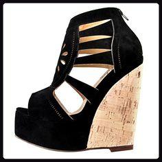 Onlymaker Damenschuhe High Heels Laser Cut Sandale mit Korkoptik Wedge Plateau Wildleder Schwarz EU43 - Sandalen für frauen (*Partner-Link)