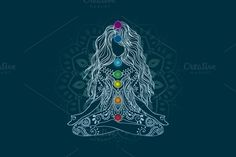 Girl in yoga pose. Vector by anvino on Creative Market