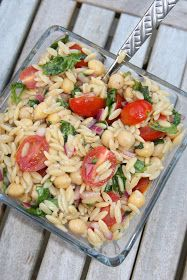 Haystacks & Champagne: Orzo with Garbanzo Beans, Red Onion, Basil and Mint