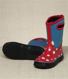 Hatley Store: Hatley White Dots On Red Girls' All Weather Boots