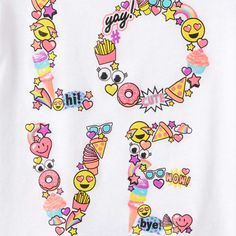Image for Toddler Girls Short Sleeve Emoji 'Love' Glitter Graphic Tee from The Children's Place