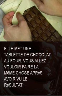 Elle met une tablette de chocolat au four. Vous allez vouloir faire la même chose après avoir vu le résultat! #Chocolat #Table #Faire #Chose #Resultat Four, Macarons, Nutella, Deserts, Pastry Recipe, Kitchens, I Want You, Stuff Stuff, Thermomix