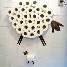 Set: Wall shelf for storing of toilet paper rolls and toilet roll holder. Funny Wall Decals Sheep and Lamb made of various kinds of veneers- Set: Wall shelf for storing of toilet paper rolls and toilet roll holder. Toilet Paper Storage, Toilet Paper Roll, Toilet Roll Holder Funny, Paper Roll Holders, Sheep And Lamb, Bathroom Wall Decor, Funny Bathroom, Bathroom Toilets, Bathroom Kids