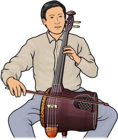 革胡を演奏する男性のイラスト。中国の楽器。