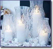 Glass hurricane lanterns Lace-patterned tights Frosted Glass Finish by Krylon® Scissors Directions Clean hurricane with soap and water. Dry thoroughly. Cut leg off the pair of tights and stretch over the hurricane. Make a knot at each end. Place on a covered work surface and, following manufacturer's instructions, spray evenly with Frosted Glass Finish. Once dry, cut away tights.