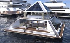 Architect Pierpaolo Lazzarini is trying to crowdfund the creation of a self-sufficient floating city-hotel of modular pyramids. Floating Architecture, Japanese Architecture, Architecture Design, Sustainable Architecture, Residential Architecture, Casa Bunker, Pyramid House, Floating Hotel, Floating Cities