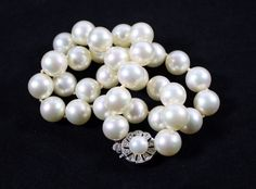 "Vintage Majorica Costume Pearl Necklace Sterling Silver Clasp 10mm 15"" Length #Majorica #StrandString"