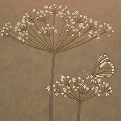 Hannah Nunn: Butterfly On Cow Parlsey Botanical Art, Botanical Illustration, Butterfly Lamp, Cow Parsley, Silk Painting, Doodle Art, Paper Cutting, Garden Art, Home Crafts