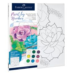 Beginners can create a succulent watercolor painting with Watercolor Paint by Number succulent! This paint by number includes a unique paint pallet, paint brush and seperate number guide that will allow you to create a masterpiece. With the quality Faber-Castell products you will create a watercolor piece of art that you will be proud to hang on your wall! Watercolor Kit, Watercolor Projects, Watercolor Pencils, Watercolour Painting, Watercolors, Paint By Number Kits, Paint By Numbers, Art Sets For Kids, Watercolor Succulents