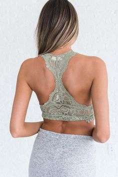 74d9d21309894 sage green boutique bralette with racerback Lace Bralette