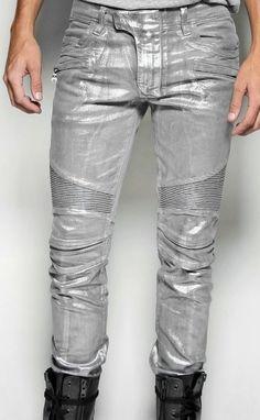 Balmain-Silver-Stretch-Denim-Biker-Jeans