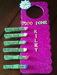 Lovely DIY Chore Charts For Kids - They can be also made with small clothes pins.