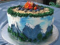 camp fire cake-with happy trees! RIP Bob Ross!