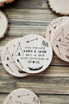 Wooden Save-the-date Coasters- I'm not sure how you can efficiently mail these but they are AWESOME.