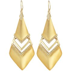 Alexis Bittar Lucite & Crystal Chevron Drop Earrings (385 BRL) ❤ liked on Polyvore featuring jewelry, earrings, gold, crystal earrings, chevron jewelry, crystal jewellery, cut out earrings and lucite jewelry