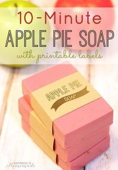Make your own DIY apple pie soap in 10 minutes! It smells delicious (just like fall!), and makes a great easy hostess or teacher appreciation gift idea!