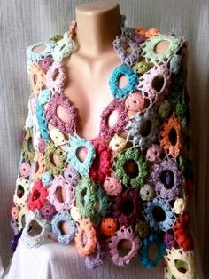 Elegant Hand Crochet Shawl Scarf Shoulder Wrap Multicolor Flowers Women Clothing Accessory Wedding Spring Summer Fall Winter Special Gift