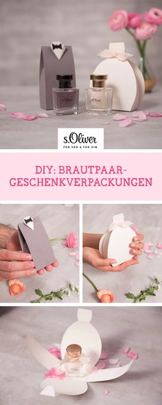 DIY-Anleitung: Zusammen mit unserem Partner s.Oliver zeigen wir Dir, wie Du Geschenkverpackungen in Form eines Brautpaares bastelst; Geschenkverpackung für Parfum / gift idea for wedding: gift wrapping idea via DaWanda.com #dawandaandfriends