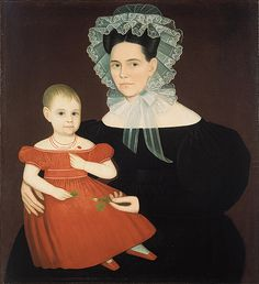 Mrs. Mayer and Daughter, 1835–40  Ammi Phillips (American, 1788–1865)  Oil on canvas    37 7/8 x 34 1/4 in. (96.2 x 87 cm)  Gift of Edgar William and Bernice Chrysler Garbisch, 1962 (62.256.2)